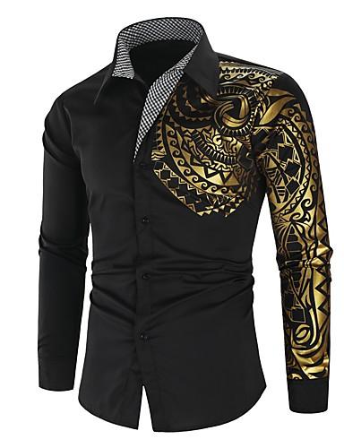 voordelige Herenoverhemden-Heren Street chic / Punk & Gothic Print Overhemd Grafisch Zwart