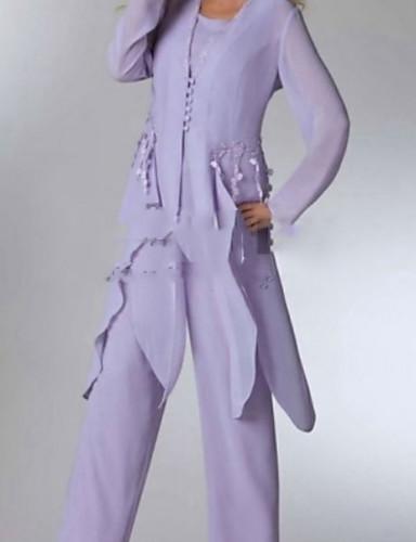 voordelige Wrap Dresses-Tweedelig / pantsuit Scoop Neck Tot de enkel Chiffon Bruidsmoederjurken met Appliqués / Knopen / Ruches door LAN TING Express / Wrap inbegrepen