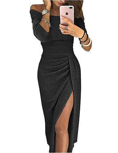 cheap Women's Dresses-Women's Long Sleeve Party Dress Off Shoulder Blushing Pink Red Sexy Cocktail Going out Birthday Bodycon Sheath Solid Color Solid Colored Ruched Split S M