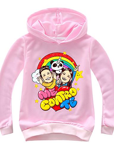 Infantil Bébé Para Meninas Básico Estampado Estampado Manga Longa Algodão Moleton & Blusa de Frio Rosa