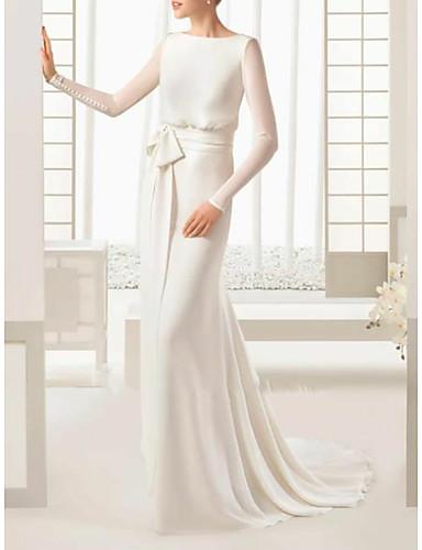 cheap Wedding Dresses-Sheath / Column Bateau Neck Sweep / Brush Train / Floor Length Satin / Tulle Long Sleeve Simple Elegant Wedding Dresses with Bow(s) / Buttons 2020