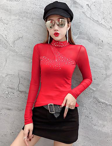 billige Topper til damer-T-skjorte Dame - Ensfarget, Netting / Lapper Gatemote / Elegant Svart