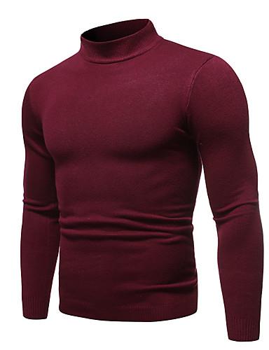 povoljno Muški džemperi i kardigani-Muškarci Jednobojni Dugih rukava Pullover Džemper od džempera, Okrugli izrez Jesen / Zima Lila-roza / Obala / Crn US32 / UK32 / EU40 / US34 / UK34 / EU42 / US36 / UK36 / EU44