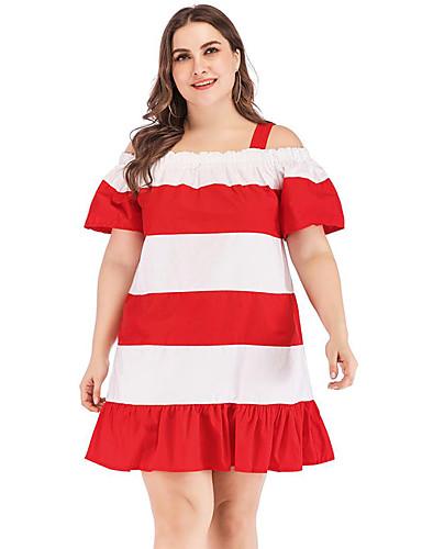 voordelige Grote maten jurken-Dames Standaard A-lijn Jurk - Kleurenblok, Blote rug Boven de knie