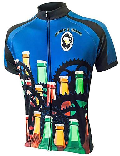 povoljno Odjeća za vožnju biciklom-21Grams Muškarci Kratkih rukava Biciklistička majica Bule / crna Oktoberfest pivo Bicikl Majice Brdski biciklizam biciklom na cesti UV otporan Prozračnost Ovlaživanje Sportski Terilen Odjeća