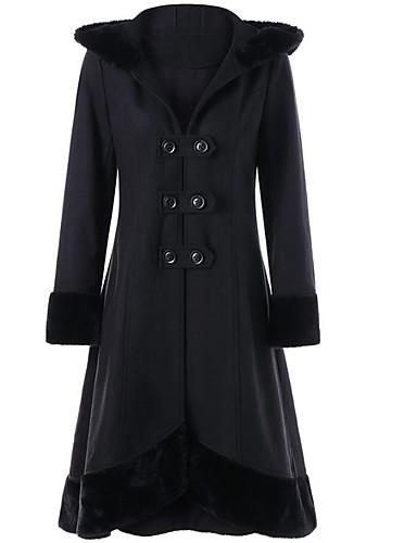 preiswerte Damenbekleidung Ausverkauf-Damen Alltag Lang Mantel, Solide Mit Kapuze Langarm Polyester Schwarz
