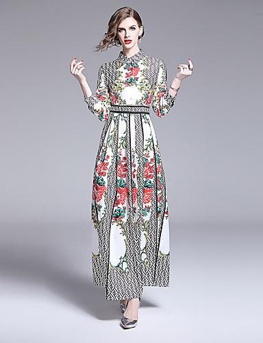 voordelige Maxi-jurken-Dames Boho A-lijn Jurk - Bloemen, Print Maxi Wit