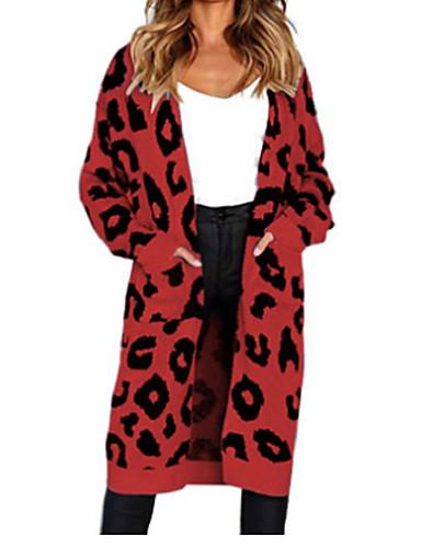 billige Dametopper-Dame Leopard Langermet Løstsittende Cardigan Genserjumper, Krageløs Høst / Vinter Rosa / Gul / Blå S / M / L