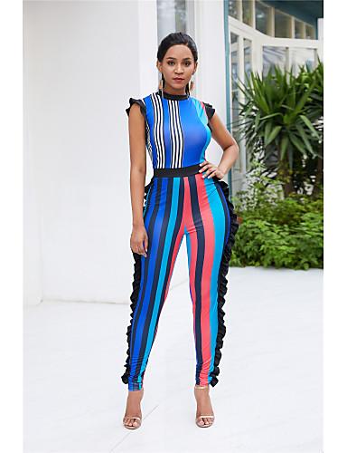 billige Dametopper-Dame Grunnleggende Gul Blå Kjeledresser, Stripet / Fargeblokk Drapering S M L
