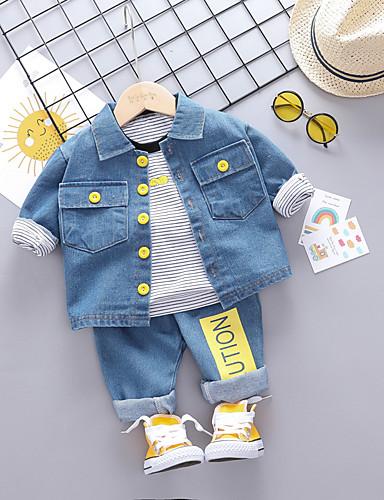 preiswerte Mode für Jungs-Baby Jungen Aktiv / Grundlegend Druck Druck Langarm Standard Standard Kleidungs Set Schwarz