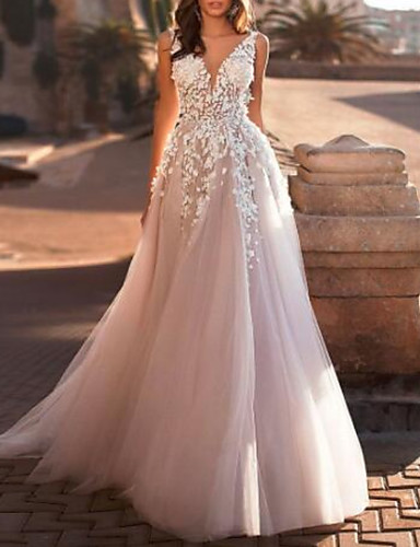 cheap Wedding Dresses-A-Line V Neck Sweep / Brush Train Lace / Tulle Regular Straps Mordern See-Through Wedding Dresses with Appliques 2020