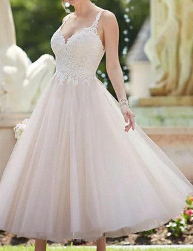 cheap Wedding Dresses-A-Line V Neck Ankle Length Lace / Tulle Spaghetti Strap Vintage Backless Wedding Dresses with Appliques 2020