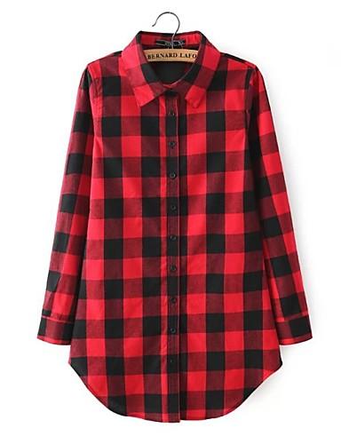 billige Dametopper-Skjorte Dame - Rutet, Lapper Gatemote / Elegant Svart