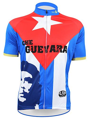 povoljno Odjeća za vožnju biciklom-21Grams Che Guevara Državne zastave Muškarci Kratkih rukava Biciklistička majica - Red+Blue Bicikl Majice UV otporan Prozračnost Ovlaživanje Sportski Terilen Brdski biciklizam biciklom na cesti Odjeća