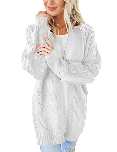 Mulheres Sólido Manga Longa Carregam Camisola Jumper Preto / Branco / Verde Tropa S / M / L