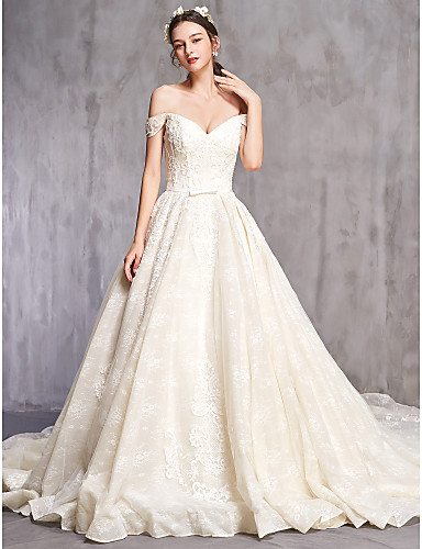 cheap Wedding Dresses-Ball Gown Off Shoulder Cathedral Train Tulle Short Sleeve Sexy Wedding Dresses with Beading / Embroidery 2020