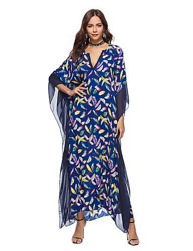 voordelige Maxi-jurken-Dames Boho Recht Wijd uitlopend Jurk - Bloemen Geometrisch Kleurenblok, Netstof Print Maxi Blauw & Wit Zwart & Rood Zwart & Wit
