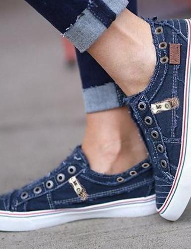 billige Shoes & Bags Must-have-Dame Treningssko Flat hæl Rund Tå Lerret Sommer Hvit / Lilla / Blå