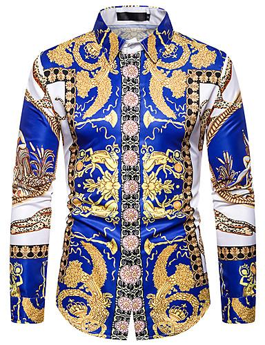 voordelige Herenoverhemden-Heren Overhemd Grafisch blauw
