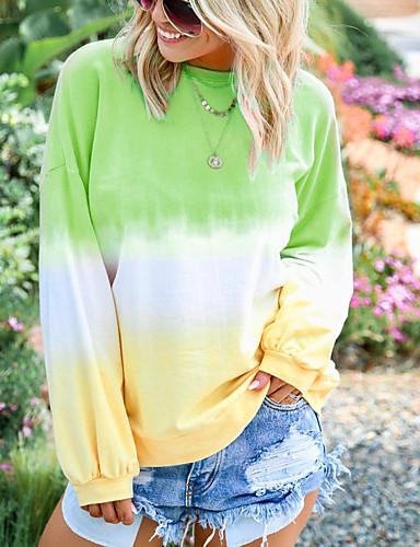 billige Dametopper-T-skjorte Dame - Batikkfarget, Lapper / Trykt mønster BLå & Hvit Lyseblå