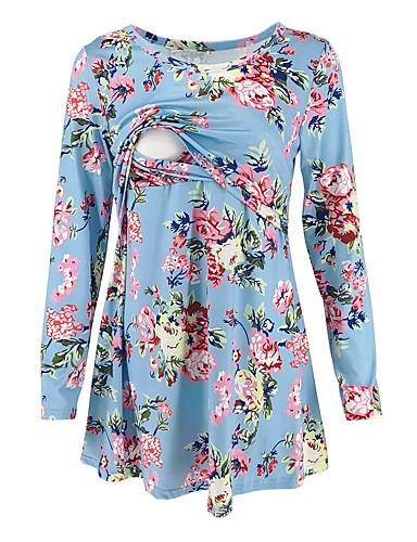 billige Dametopper-T-skjorte Dame - Stripet, Lapper Grunnleggende / Gatemote Svart / Hvit / Blå Svart