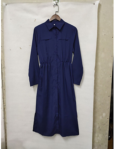 voordelige Maxi-jurken-Dames Standaard Katoen Overhemd Jurk - Effen Overhemdkraag Maxi