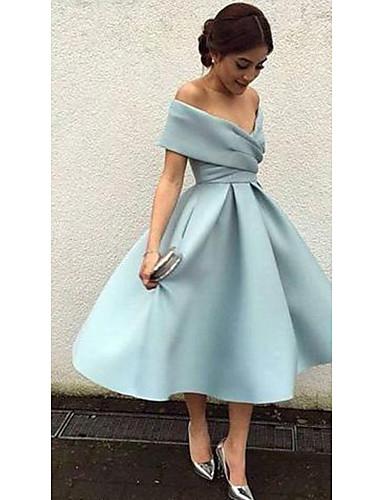 A-Line V Neck Tea Length Matte Satin Elegant / Blue Cocktail Party / Formal Evening Dress with Pleats 2020