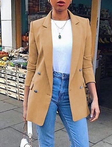 cheap Women's Outerwear-Women's Blazer White / Black / Blue S / M / L