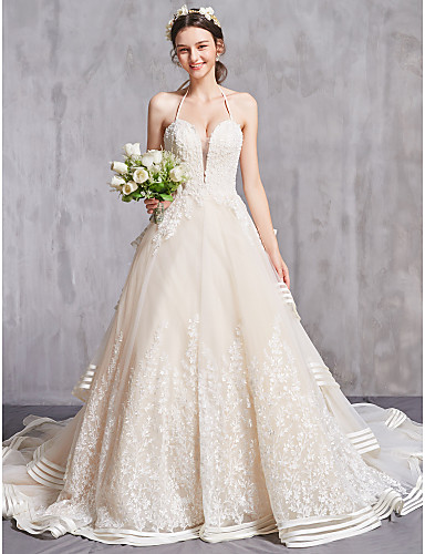 cheap Wedding Dresses-A-Line Sweetheart Neckline Cathedral Train Organza Spaghetti Strap Sexy Wedding Dresses with Ruched / Beading / Embroidery 2020