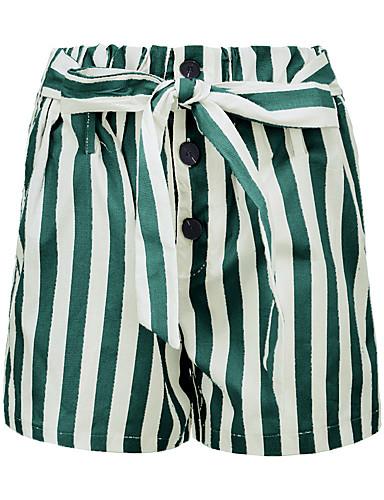 billige Tights til damer-Dame Grunnleggende Løstsittende Shorts Bukser - Stripet Høy Midje Lin Brun Grønn Grå M L XL