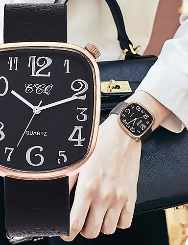 Mulheres Relógios de Quartzo Nova chegada Fashion Preta Vermelho Chocolate Couro PU Chinês Quartzo Preto Vermelho Chocolate Cronógrafo Fofo Relógio Casual 1 Pça. Analógico Um ano Ciclo de Vida da