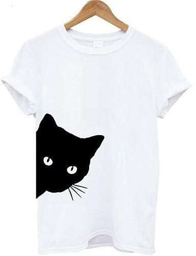 billige Dametopper-T-skjorte Dame - Ensfarget / Dyr, Lapper Grunnleggende Katt Svart
