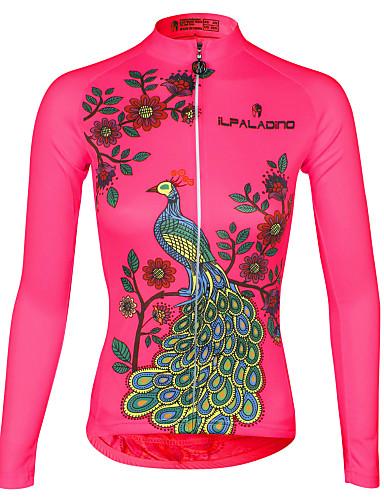 povoljno Odjeća za vožnju biciklom-ILPALADINO Žene Dugih rukava Biciklistička majica Obala purpurna boja Blushing Pink Paun Veći konfekcijski brojevi Bicikl Biciklistička majica Majice Brdski biciklizam biciklom na cesti Prozračnost