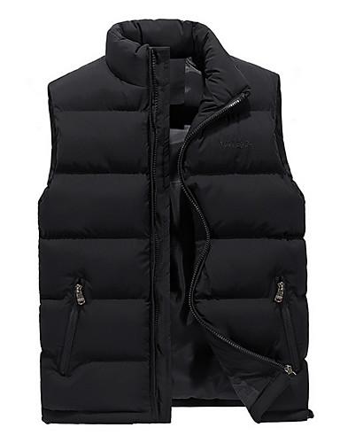cheap Down Vest-Men's Solid Colored Plus Size Regular Vest, Polyester Black / Army Green / Blue US32 / UK32 / EU40 / US34 / UK34 / EU42 / US36 / UK36 / EU44