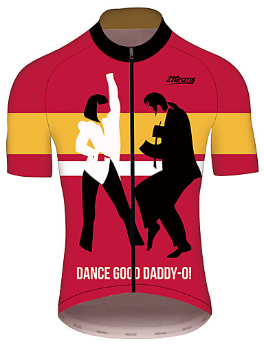 povoljno Odjeća za vožnju biciklom-21Grams Celulozna fikcija Muškarci Kratkih rukava Biciklistička majica - Red / Yellow Bicikl Biciklistička majica Majice Prozračnost Quick dry Reflektirajuće trake Sportski 100% poliester Brdski