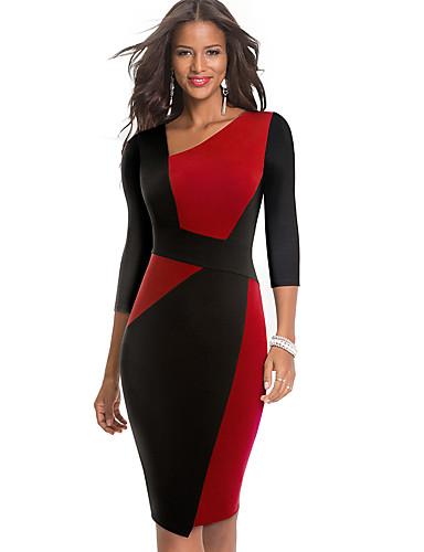 levne Pracovní šaty-Dámské Sofistikované Elegantní Bodycon Pouzdro Šaty - Barevné bloky, Patchwork Délka ke kolenům