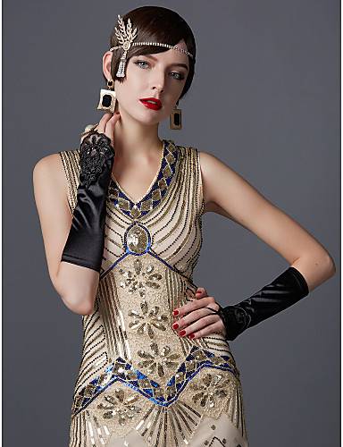cheap Cosplay & Costumes-The Great Gatsby Charleston 1920s Roaring Twenties Summer Flapper Dress Women's Sequins Costume Black / Emerald Green / Black / Red Vintage Cosplay Party Prom Sleeveless Knee Length