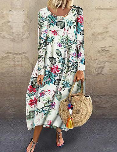 voordelige Maxi-jurken-Dames Standaard Recht Jurk - Bloemen, Print Midi