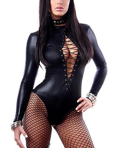 billige Dametopper-Body Dame - Ensfarget, Netting Grunnleggende Svart