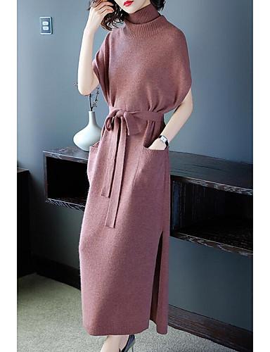 levne Maxi šaty-Dámské Sofistikované Elegantní Úplet Šaty - Jednobarevné, Třásně Rozparek Šňůrky Maxi Sněhová vločka Sněhulák Fantastická zvířata