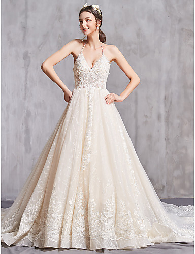 cheap Wedding Dresses-A-Line V Neck Chapel Train Lace / Tulle Spaghetti Strap Sexy Wedding Dresses with Beading / Appliques 2020