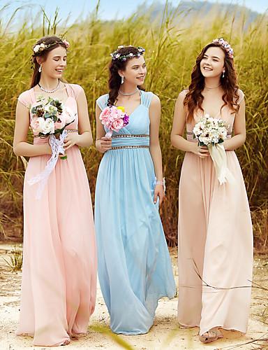 voordelige Maxi-jurken-A-lijn V-hals Tot de grond Polyester Schoolfeest Jurk met Kristaldetails / Drapering door Lightinthebox