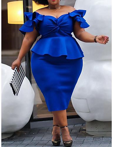 voordelige Grote maten jurken-Dames Street chic Elegant A-lijn Bodycon Schede Jurk - Effen, Strik Ruche Patchwork Tot de knie Blauw