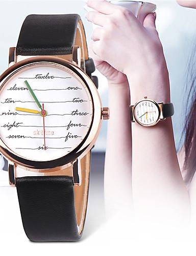 Mulheres Relógios de Quartzo Nova chegada Fashion Preta Branco Verde Couro PU Chinês Quartzo Preto Branco / preto Branco Cronógrafo Fofo Novo Design 1 Pça. Analógico Um ano Ciclo de Vida da Bateria