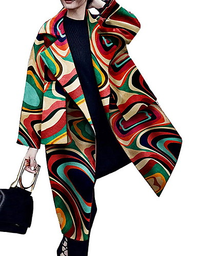 voordelige Damesjassen & trenchcoats-Dames Dagelijks Lang Jas, Geometrisch Ingesneden revers Lange mouw Polyester Regenboog