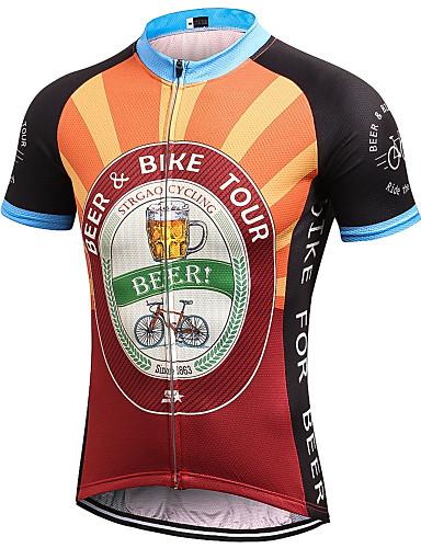 povoljno Odjeća za vožnju biciklom-21Grams Muškarci Kratkih rukava Biciklistička majica Crna / Orange Retro Noviteti Oktoberfest pivo Bicikl Biciklistička majica Majice Brdski biciklizam biciklom na cesti Prozračnost Ovlaživanje Quick