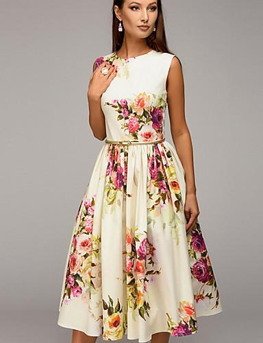 Mulheres Vintage Evasê Vestido - Estampado, Floral Médio