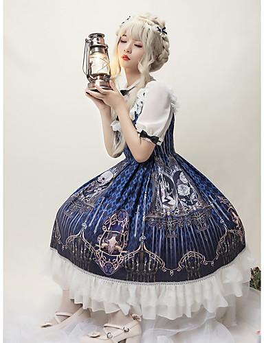 preiswerte Spielzeug & Hobby Artikel-Gothic Punk & Gothic Kleid Weiblich Japanisch Cosplay Kostüme Tintenblau Totenkopf Teufel Schmetterling Kurzarm Knie-Länge