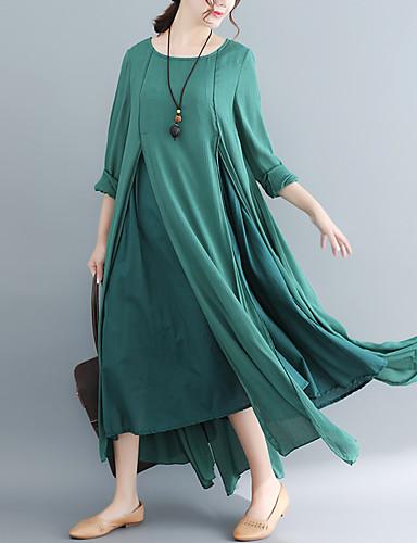 voordelige Maxi-jurken-Dames Verfijnd Wijd uitlopend Jurk - Effen, Meerlaags Asymmetrisch Wit