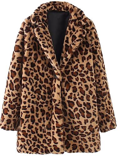 preiswerte Tierfell-Druck-Damen Alltag Retro Winter Standard Mantel, Leopard Steigendes Revers Langarm Baumwolle Braun